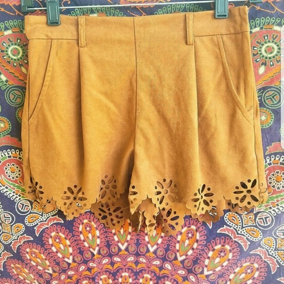 Pants - Cut out suede shorts